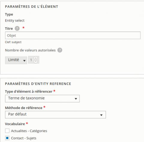 Webform sujet taxonomy